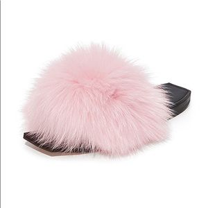 Size 8 Real Fox Fur Pink Sandals by Parme Marin